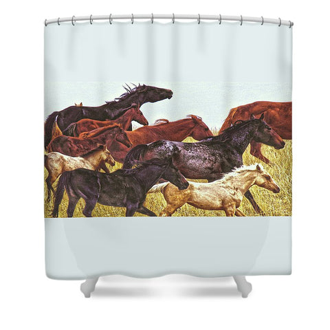 Spirit Races on the Prairie Shower Curtain