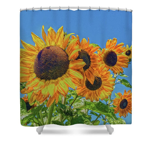 Sun and Flower Conversation Shower Curtain