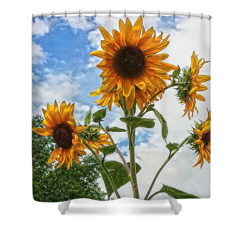 Sunflowers and Blue Shower Curtain