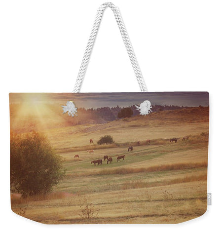 Sunset and Horses Weekender Tote bag