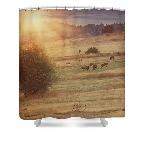 Sunset and Horses Shower Curtain
