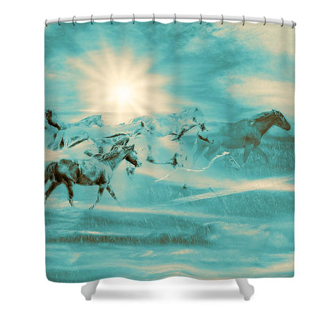 Turquoise Run in Spirit Shower Curtain