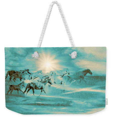 Turquoise Run in Spirit Weekender Tote bag