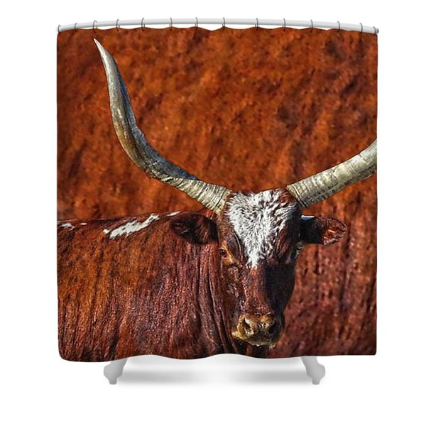 Watusi Blues in Rustic Red Shower Curtain