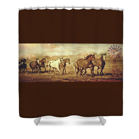 Wild Horses and Windmills Shower Curtain