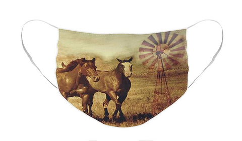 Wild Horses and Windmills Face Mask