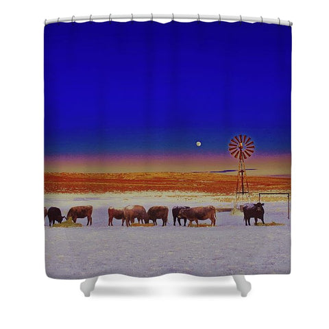 Windmill and Cows Night Feed Shower Curtain