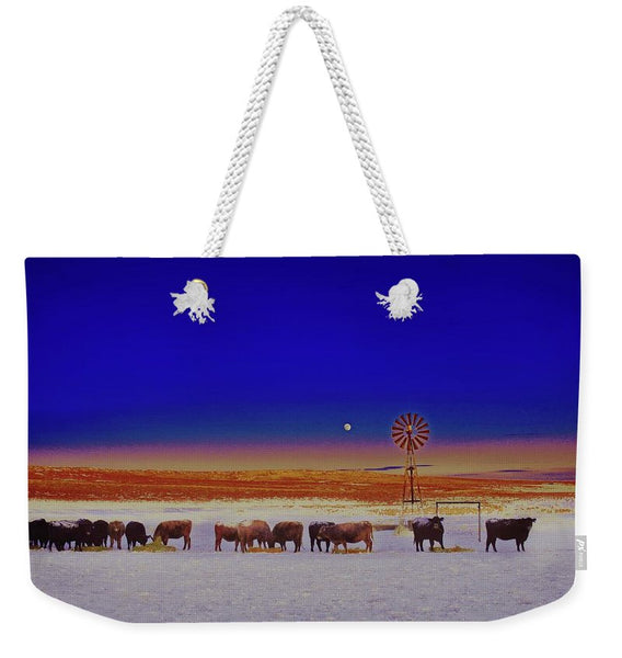 Windmill and Cows Night Feed Weekender Tote bag