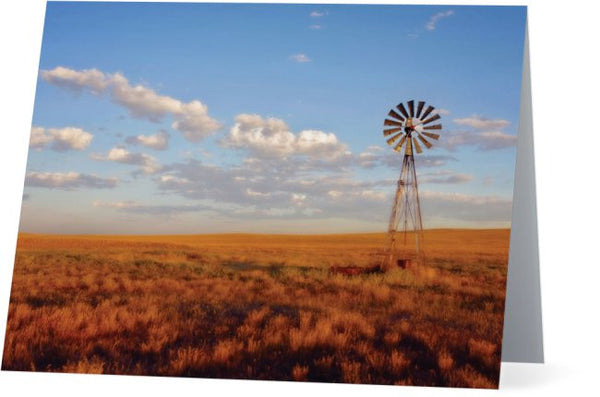 Windmill at Sunset Note Cards and Greeting Cards (12 Pack)