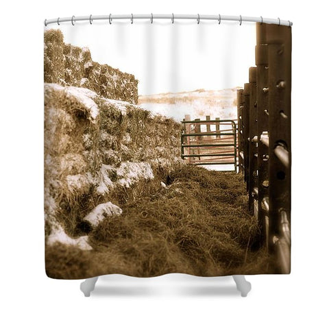 Winter Feed Lot Horizontal Shower Curtain