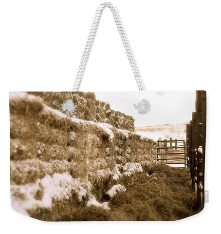 Winter Feed Lot Horizontal Weekender Tote bag
