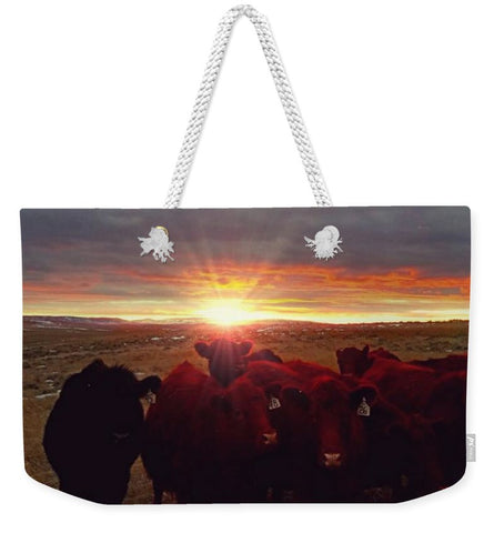 Winter Sunset at Night Feed Weekender Tote bag