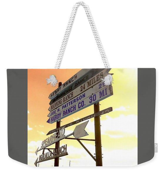 Wyoming Ranch Directions Weekender Tote bag