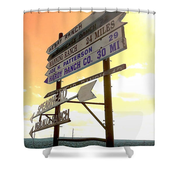 Wyoming Ranch Directions Shower Curtain