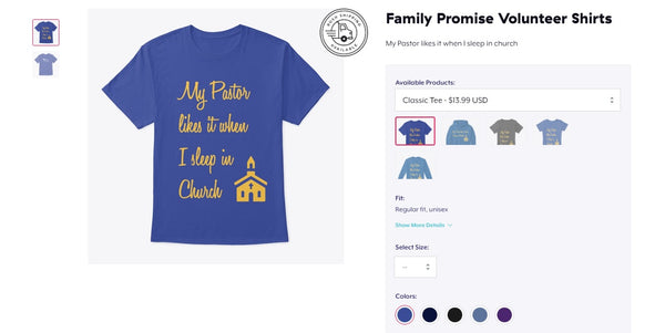 Family Promise Volunteer Shirt - Short & Long Sleeve