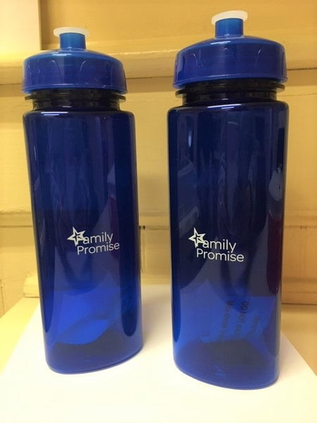 Blue Water Bottle with White Logo