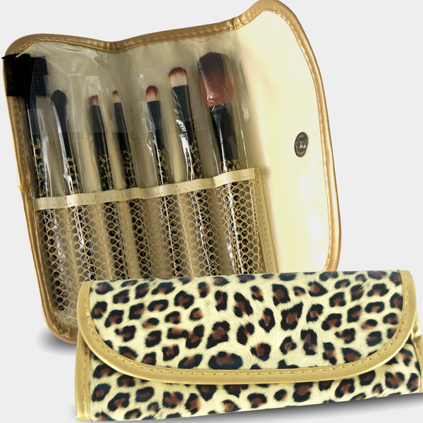 7pcs Professional Cosmetic Makeup Brush Set with Cheetah Print Bag - ninesis