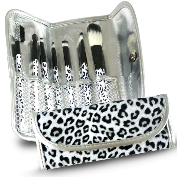 7pcs Professional Cosmetic Makeup Brush Set with Leopard Print Bag - ninesis