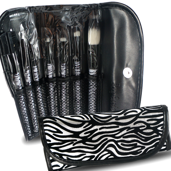 7pcs Professional Cosmetic Makeup Brush Set with Zebra Print Bag - ninesis