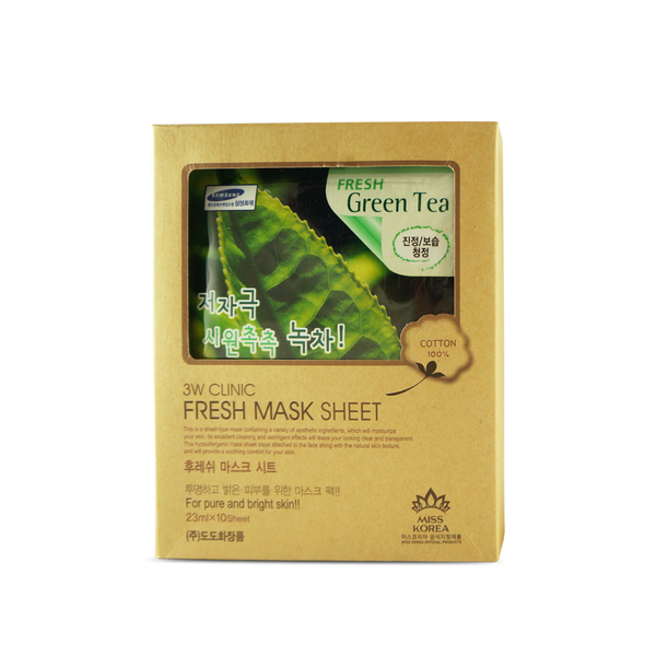 "3W Clinic ""Fresh Green Tea"" Face Mask Sheet Essence 10 pcs - ninesis"