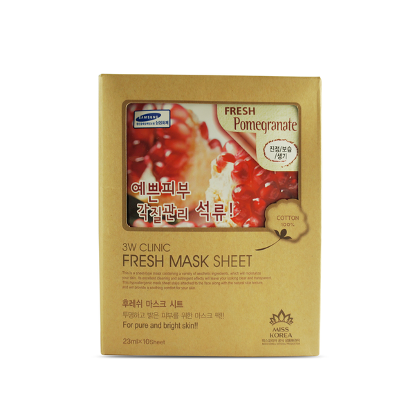 "3W Clinic ""Fresh Pomegranate"" Face Mask Sheet Essence 10 pcs - ninesis"