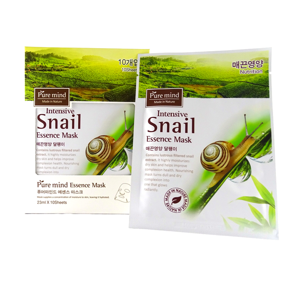 "Pure Mind Made in Nature, Essence Mask ""Intensive Snail"" 10 Sheets (23ml) - ninesis"