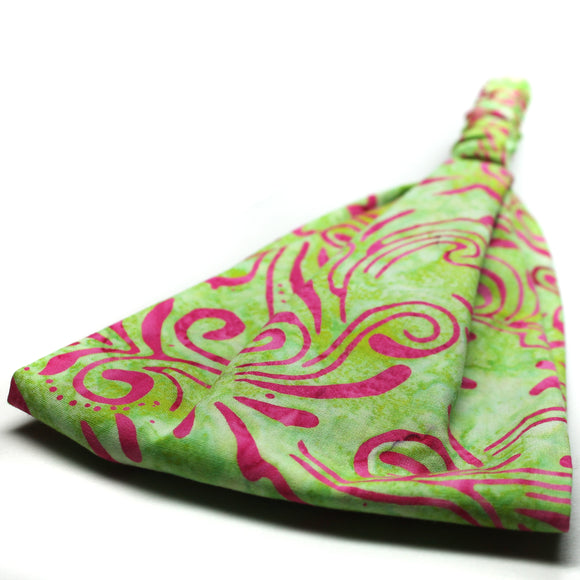 Green & Pink Batik Wide Headband