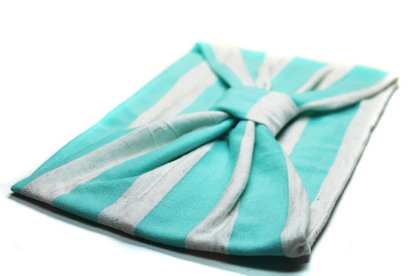 Mint Green Stripe, Knit Turban Headband