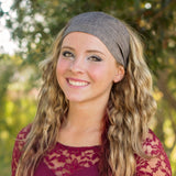 Charcoal Pinstripe Linen Wide Headband
