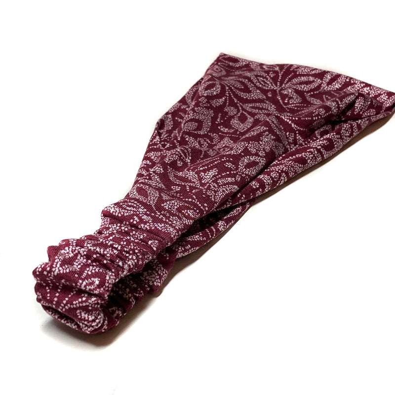 Burgundy Sports Wrap Headband, Knit