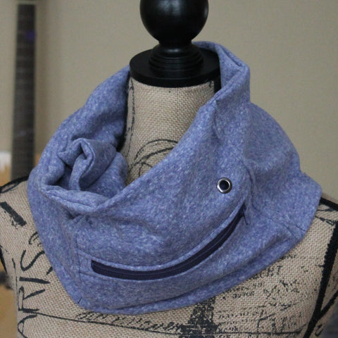 Navy Sweatshirt Pocket Scarf