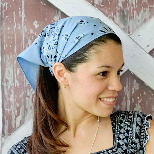 Blue Retro Kerchief Headband