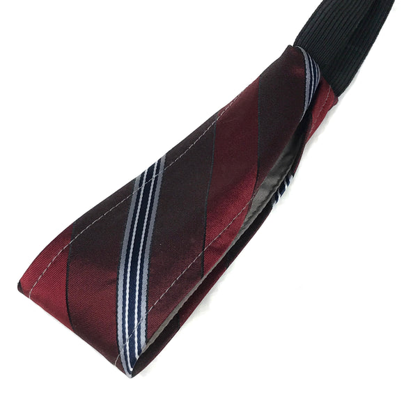 Burgundy Stripe Vintage Necktie Thin Headband