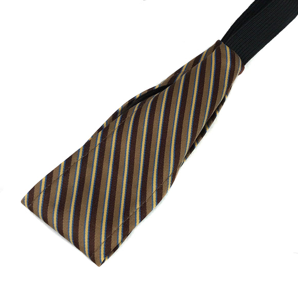 Brown & Gold Stripe Vintage Necktie Thin Headband