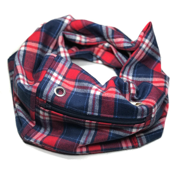 Red White & Blue Flannel Pocket Scarf