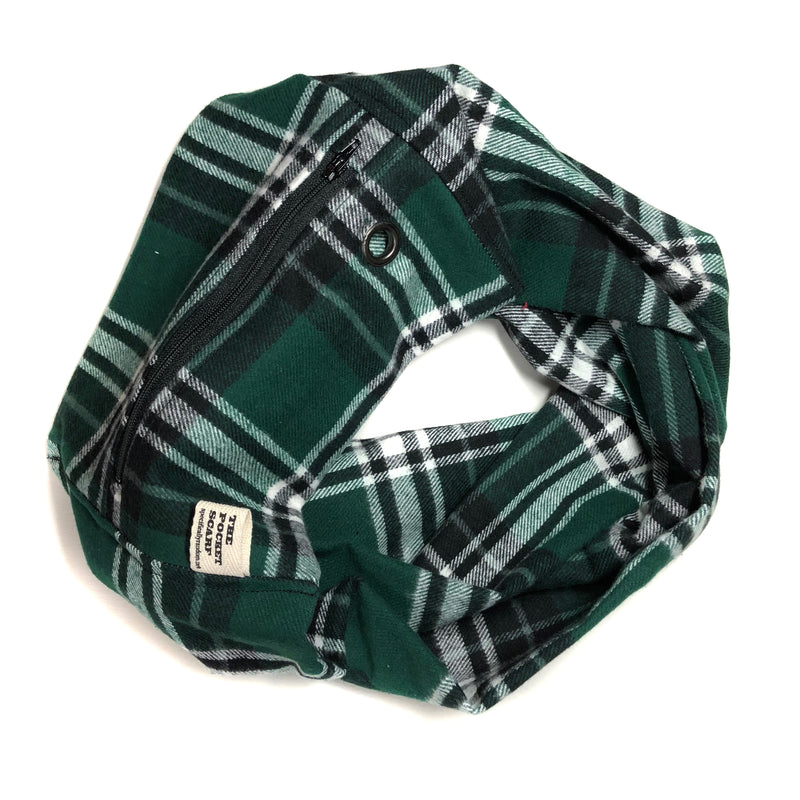 Green Plaid Flannel Pocket Scarf