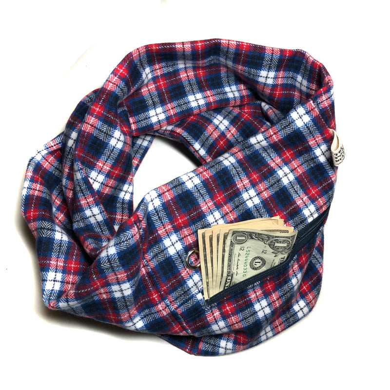 Red, Navy & White Flannel Pocket Scarf