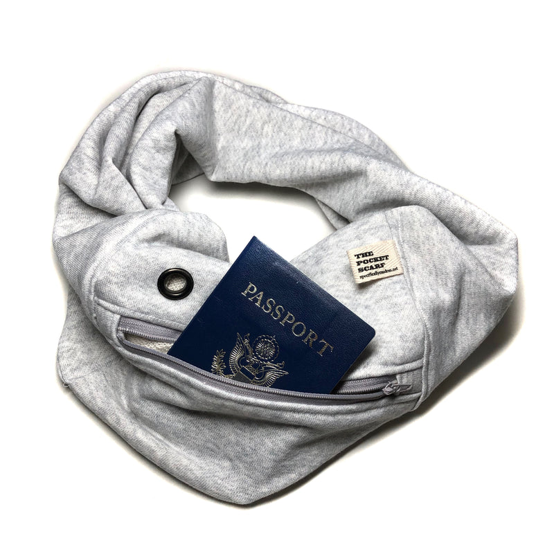 Gray Sweatshirt Pocket Scarf