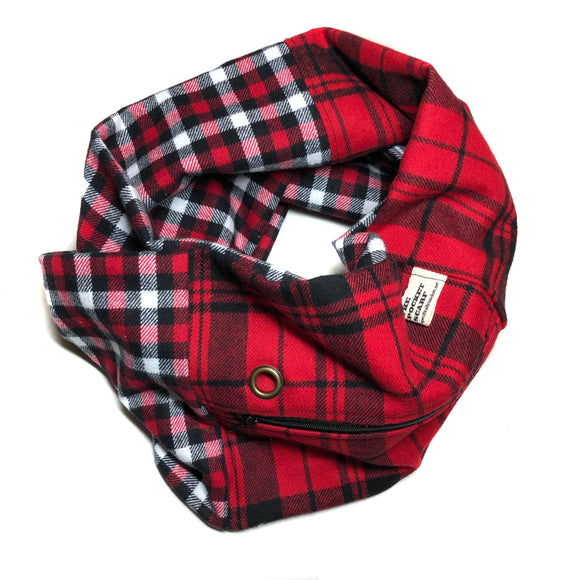 Red & Black Patchwork Flannel Pocket Scarf