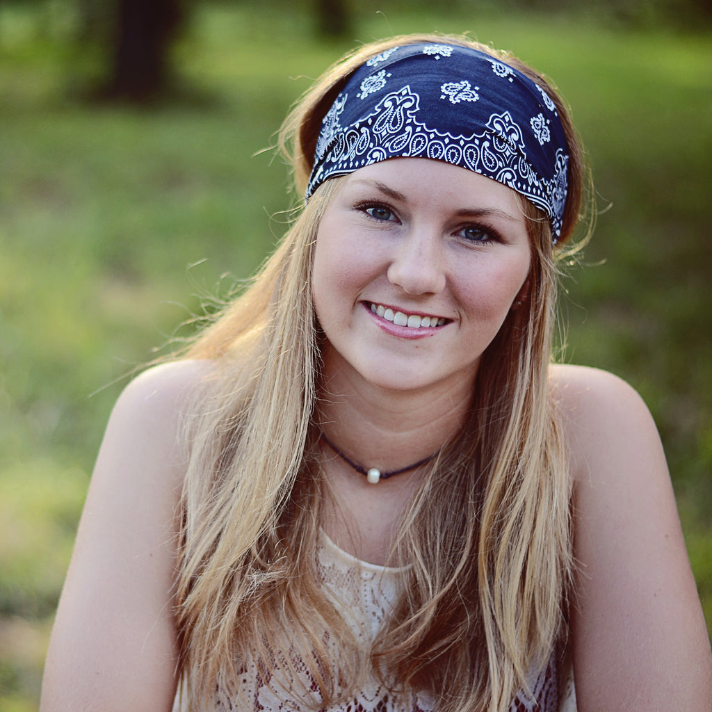 Navy Blue Bandana Headband