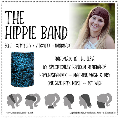Black Print Hippie Band Headband