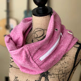 Pink Sweatshirt Pocket Scarf