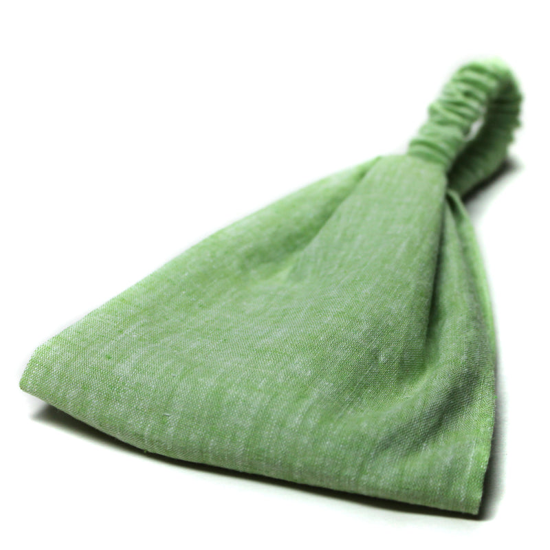 Lime Green Linen Wide Headband