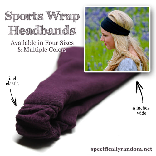 Pink Sports Wrap Headband, Double Brushed Knit