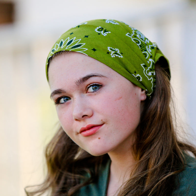 Olive Green Bandana Kerchief Headband