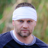 Mens White Knit Headwrap