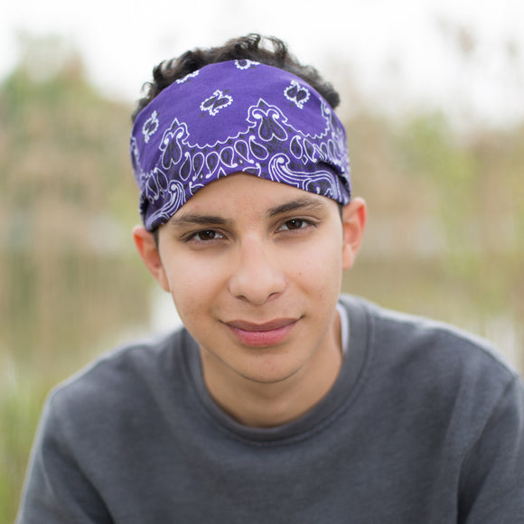 Men's Purple Bandana Headband