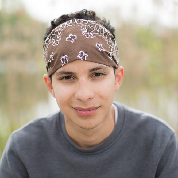Men's Brown Bandanna Headband