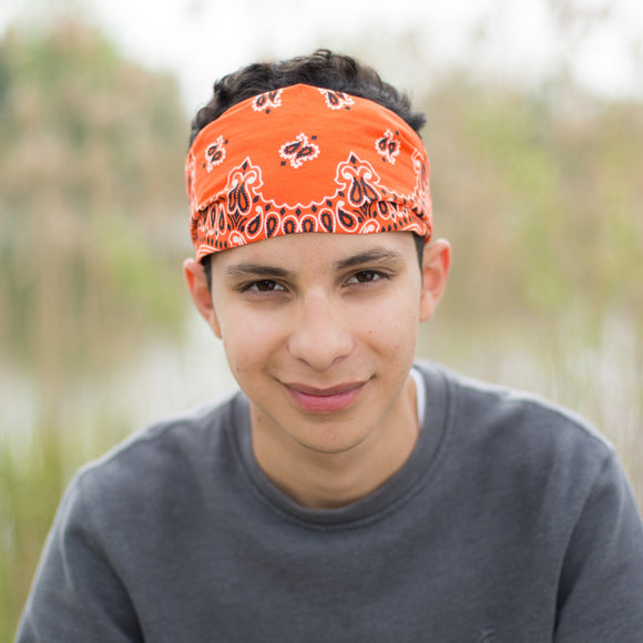 Orange Bandanna Head Wrap