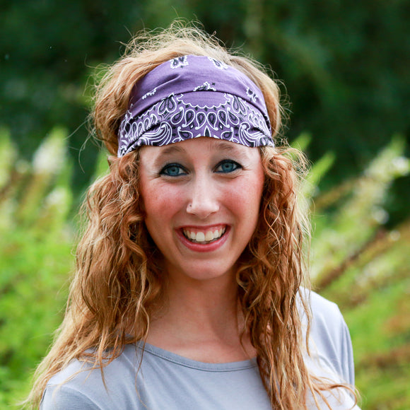 Plum Purple Bandana Wide Headband